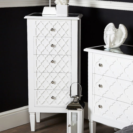Blanca White Wooden Mirrored Top Tallboy 5 Drawer Chest Of Drawers