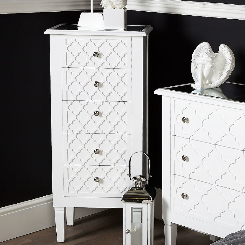 Blanca White Wooden Mirrored Top Tallboy 5 Drawer Chest Of Drawers Picture Perfect Home
