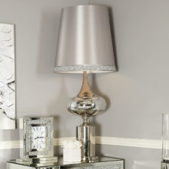 Chrome And Glass Podium Statement Table Lamp With Silver Sparkly Shade