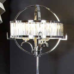 Chrome & Crystal Hollywood Floor Lamp With Clear And Chrome Drum Shade