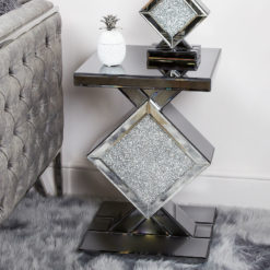 Diamond Glitz Noir Smoked Mirrored End Table Side Table
