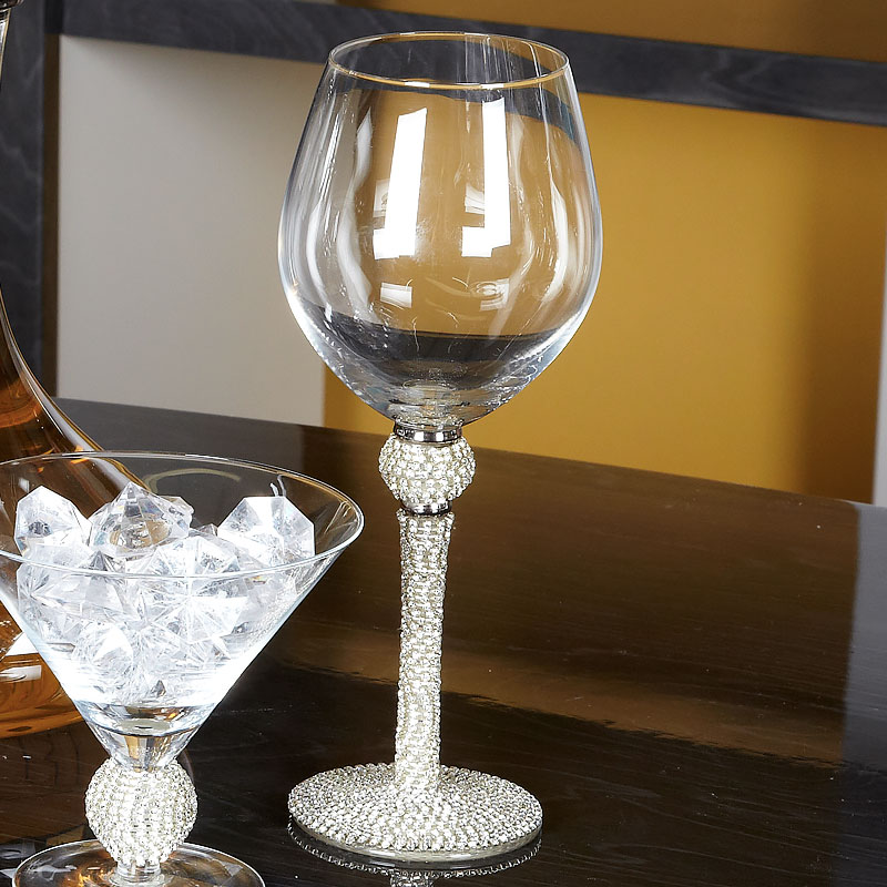 Diamond Glitz Red Wine Glass Diamond Stem And Ball