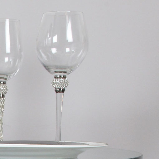 Diamond Glitz Red Wine Glass With Diamond Ball