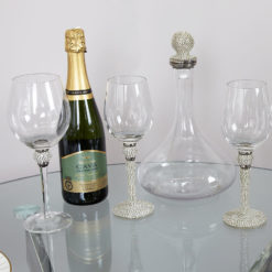 Diamond Glitz White Wine Glass Diamond Base Stem And Ball