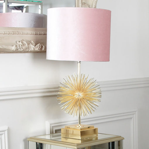 Gold Sunburst Table Lamp With Pink Shade