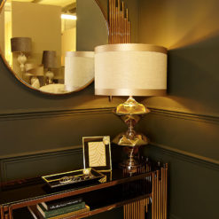 Gold Two Diamond Table Lamp With Gold Linen Striped Shade