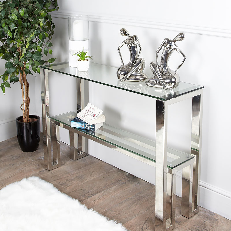Harvey Chrome And Glass Console Table Dressing Table