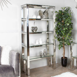 Harvey Chrome And Glass Shelving Unit Display Cabinet
