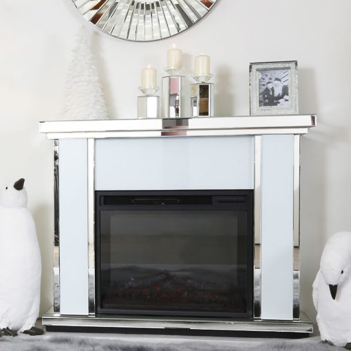 Madison White Mirrored Electric Fireplace Surround