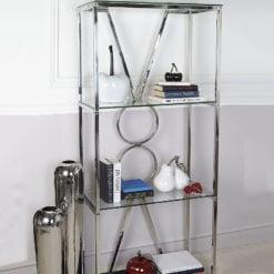Magnus Chrome Clear Black Glass Showcase Display Cabinet Shelving Unit