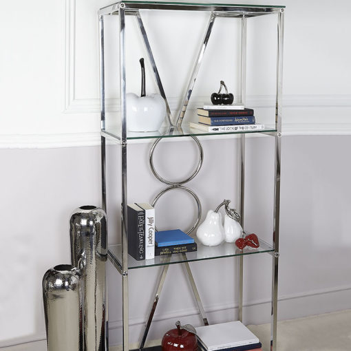 Magnus Chrome Clear Black Glass Showcase Display Cabinet Shelving Unit