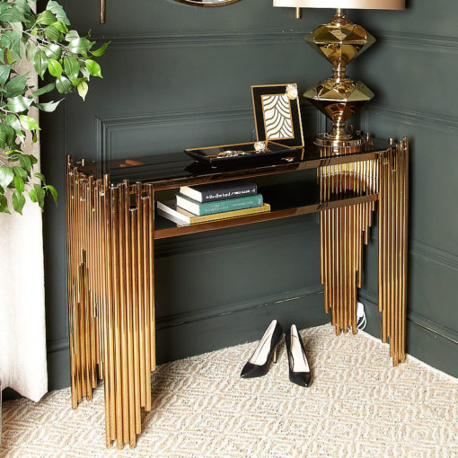 Premium Remington Metal And Smoked Glass Console Table Rose Gold