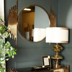 Premium Remington Metal Wall Mirror Rose Gold