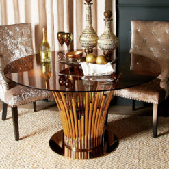 Remington Metal And Smoked Glass Rose Gold Dining Table