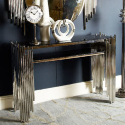Remington Silver Premium Metal And Smoked Glass Console Table
