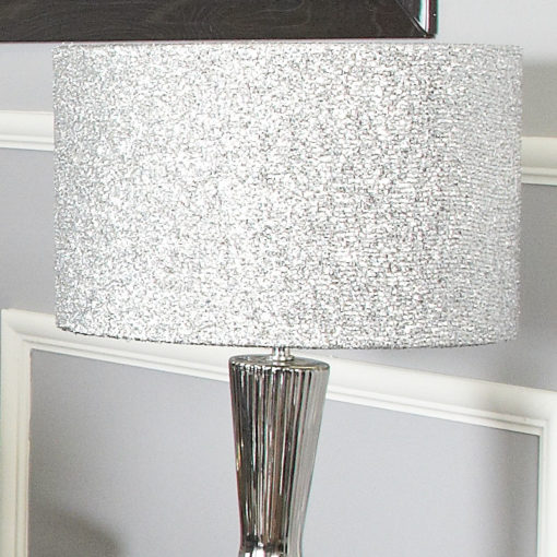 Silver Ceramic Hourglass Table Lamp With 16 Inch Glitter Drum Shade