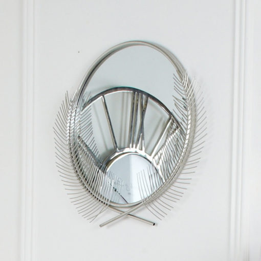 Silver Metal Feather Quill Wall Mirror 100cm