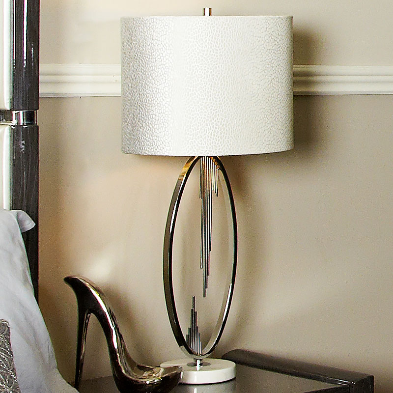 Silver Oval Abstract Table Lamp With 14 White Crocodile