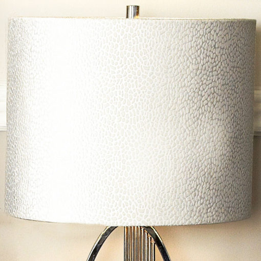 "Silver Oval Abstract Table Lamp With 14"" White Crocodile Velvet Shade"