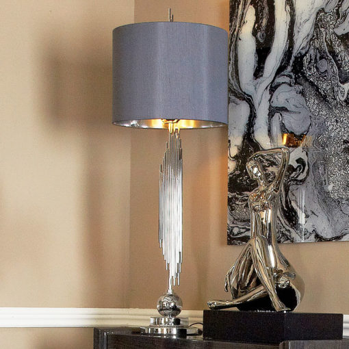 "Silver Sculptured Abstract Table Lamp With 14"" Grey Faux Silk Shade"