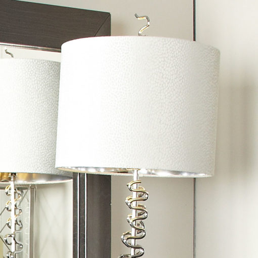 Silver Squiggle Table Lamp With 14 Inch White Crocodile Velvet Shade