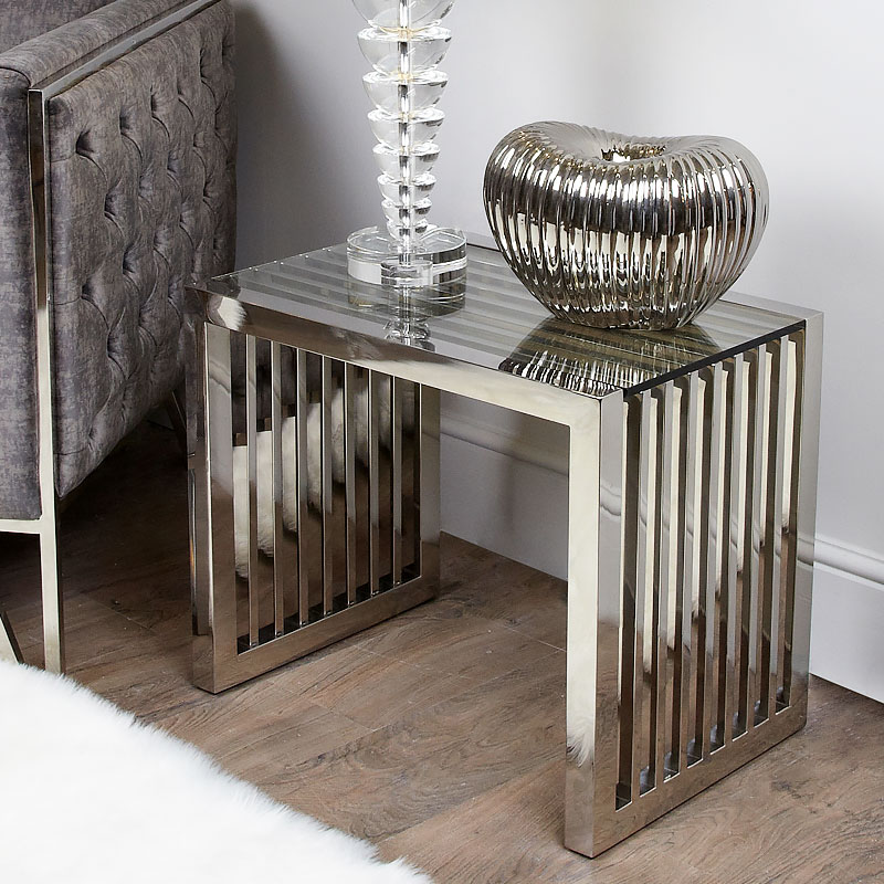 Sloane Chrome And Glass End Side Table Picture Perfect Home