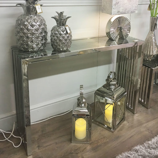 Sloane Chrome Console Table Hallway Table With Glossy Glass Top