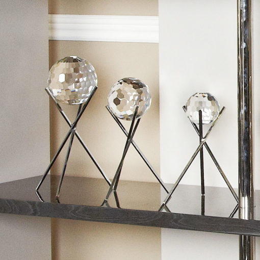 Small Glittering Sparkling Cut Glass Faceted Sphere Orb Home Decor