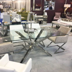 Debonaire Glass And Chrome Dining Table And 4 Grey Dining Chairs Set