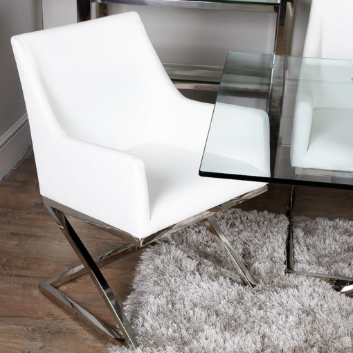 Set of 2 Debonaire White Faux Leather Dining Arm Chairs