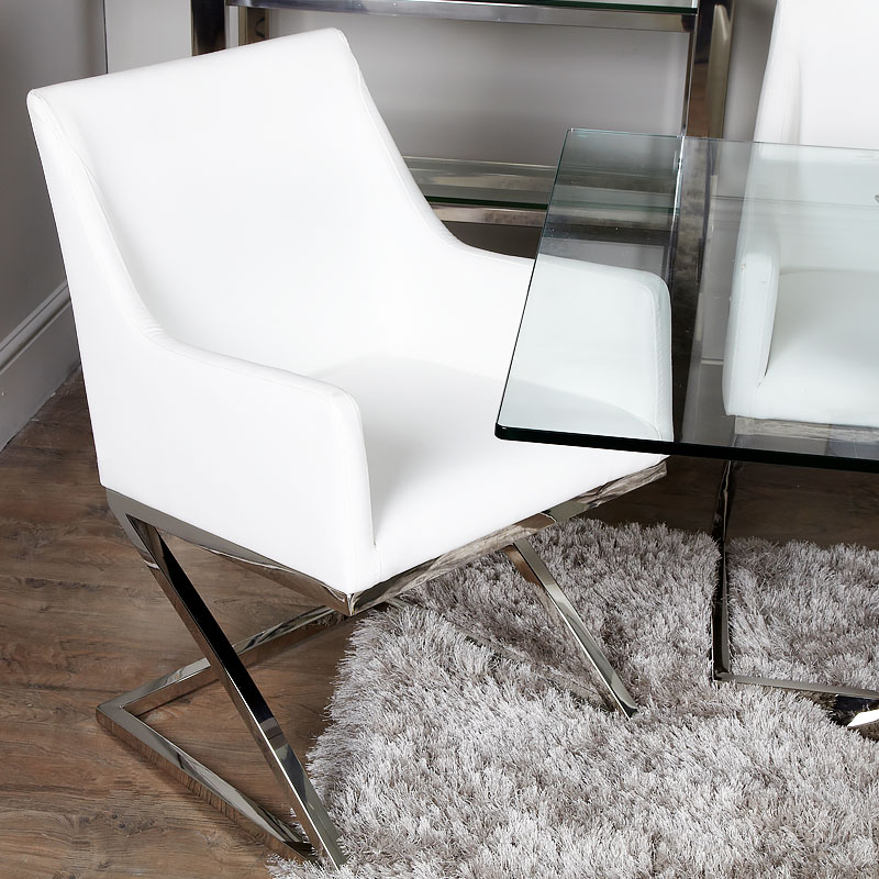 Set of 4 Debonaire White Faux Leather Dining Arm Chairs ...