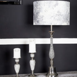 Nickel Diamante Candlestick Table Lamp With Marble Grey Shade