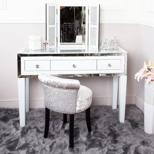 Sparkly Glitter Silver Crushed Velvet Roll Back Dressing Chair Stool