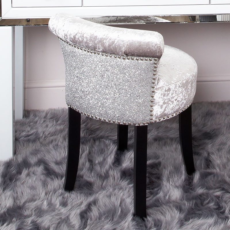 Sparkly Glitter Silver Crushed Velvet Roll Back Dressing