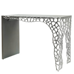 Annabelle Console Table With Cut-out Circle Clusters And Grey Wood