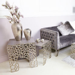 Annabelle Large End Table With Cut-out Circle Clusters And Grey Wood