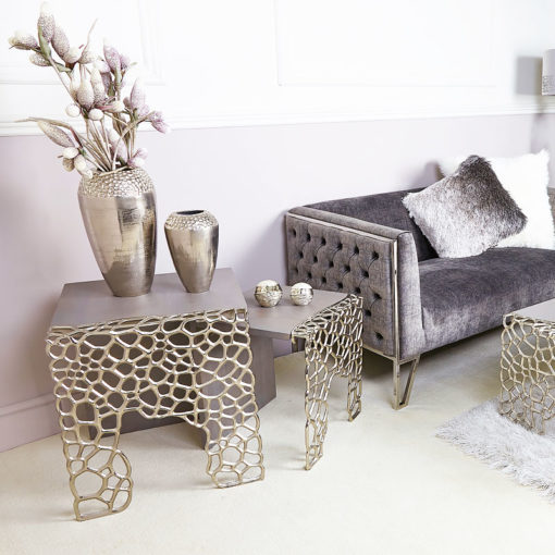 Annabelle Small End Table With Cut-out Circle Clusters And Grey Wood