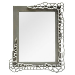 Annabelle Wall Mirror With Cut-out Circle Clusters And Grey Wood