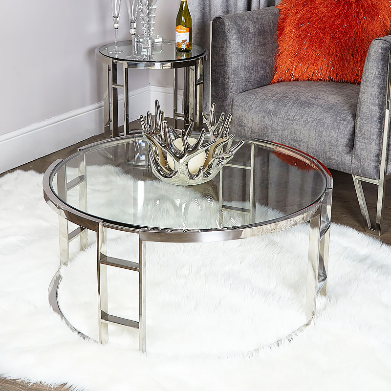 Atticus Chrome And Tempered Glass Coffee Table | Picture ...