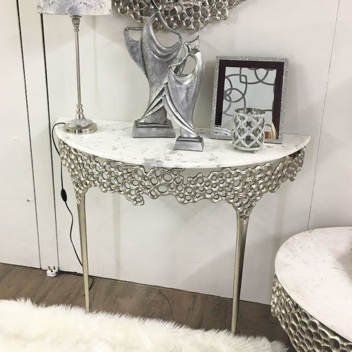Augusta Silver Metal And Marble Console Table Dressing Table