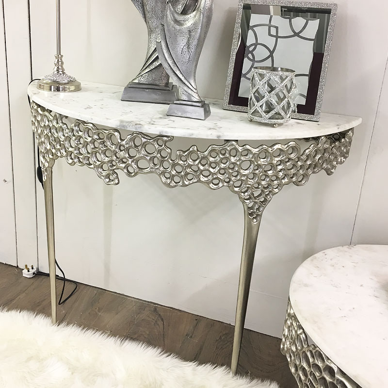 Augusta Silver Metal And Marble Console Table Dressing