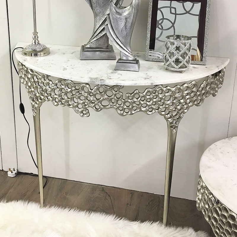 reputable site 893be d1d32 Augusta Silver Metal And Marble Console Table Dressing Table