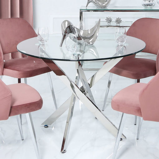 Aurelia Chrome And Glass Round Medium Dining Table
