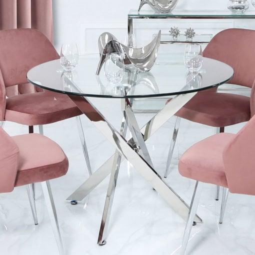 Aurelia Chrome And Glass Round Medium Dining Table