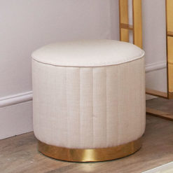 Beige Round Stool With Ribbed Sides And Gold Metal Base