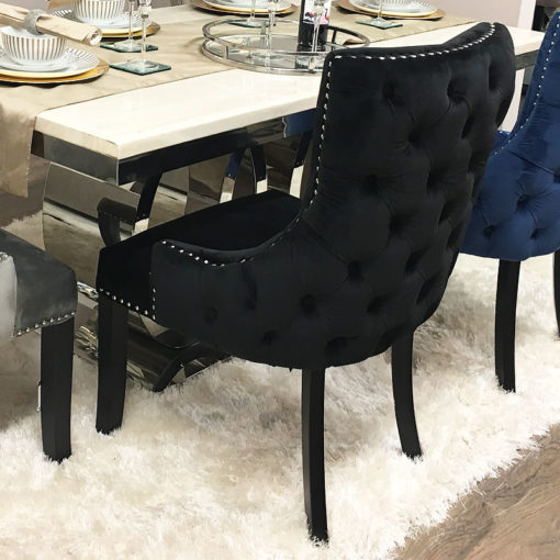 Black Tufted Back Dining Chair