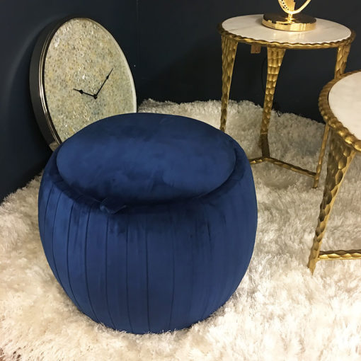 Blue Round Velvet Storage Stool In Plush Fabric