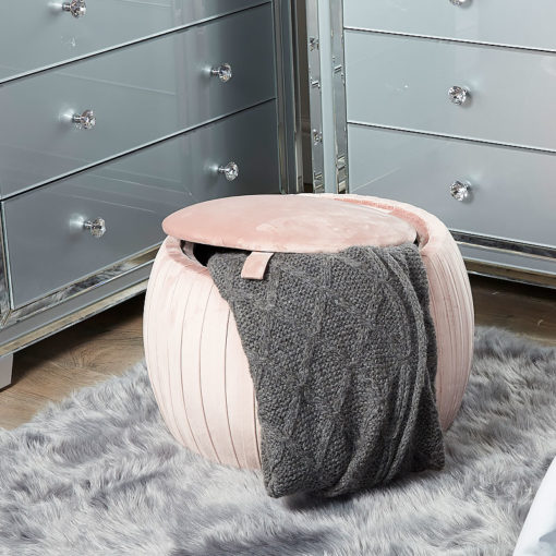 Blush Pink Round Velvet Storage Stool In Plush Fabric