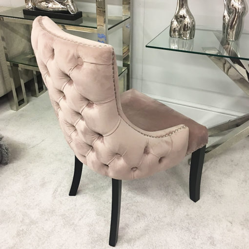 Blush Pink Tufted Back Dining Chair