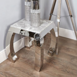 Cassandra Grey Marble And Chrome Side End Table With A Curved Leg Base